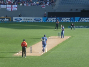 England starting their chase. Loving Cook leaning on his bat.