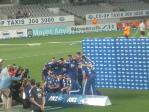 England celebrating their series win